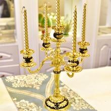 Hochzeit Party Dekoration Gold Leuchter Schwarz Bronze Leuchter Mittelstücke Europa Stil Wohnkultur Kerzenhalter