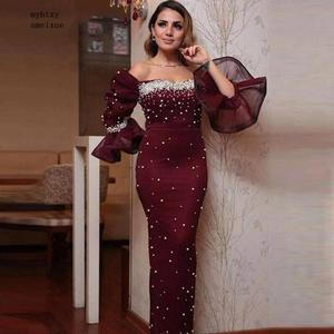 New Arrival Purple muslim evening dress 2020 Full Hand Beaded Pearls Formal dress Gowns Mermaid dress abiti da sera Real picture