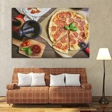 Affiche de peintures de Pizza   Art mural de Pizza, saucisse, imprimés dimages, délicieux Art, peinture sans cadre, toile dart pour décor de salon, 1 pièce