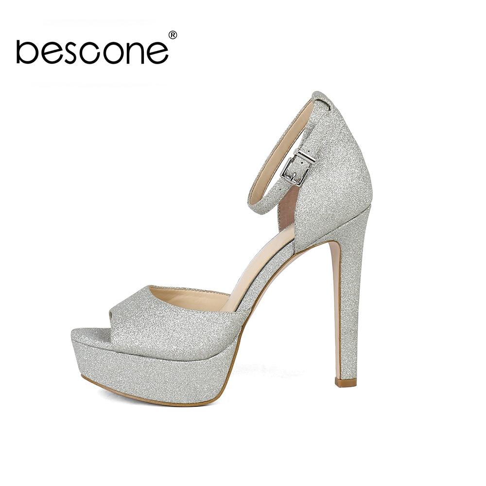 BESCONE Sexy sandalias de mujer básica hebilla zapatos de tacón fino 13 cm Super alto tacón de plata de fiesta lentejuelas fuera de las señoras sandalias BY31