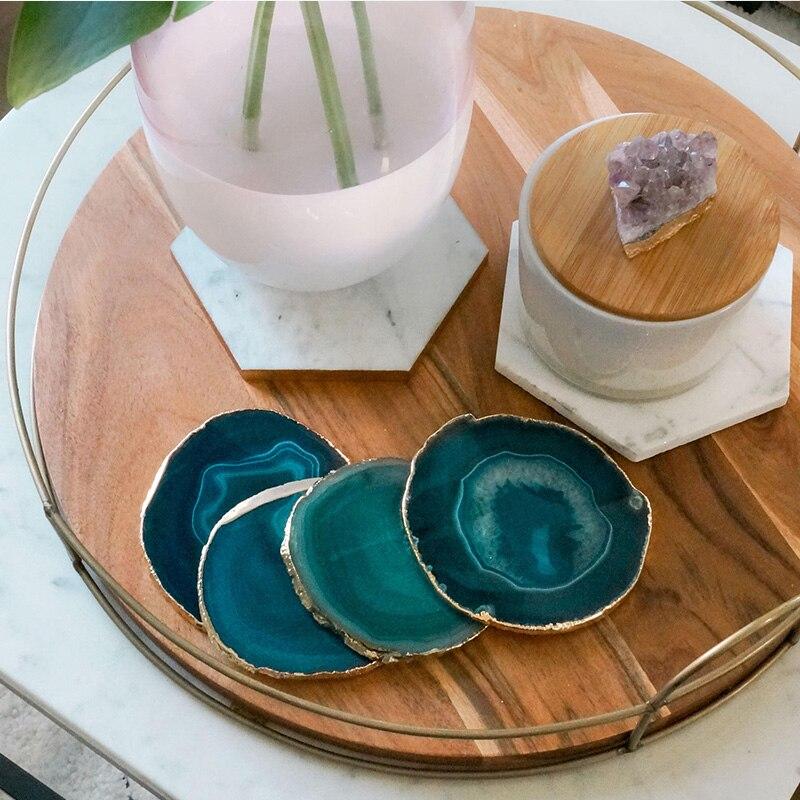 Bandeja de decoración de la taza de té de la rebanada de ágata, posavasos de piedra de diseño, posavasos decorativos de la gema de Phnom Penh, oferta especial