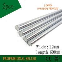 2pcs 12mm 12x600 linear shaft 3d printer 12mm x 600mm Cylinder Liner Rail Linear Shaft axis cnc parts 12*600mm
