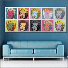 Peinture à lhuile imprimée de grande taille   Marilyn andy warhol, toile dart murale, images imprimées pour salon et chambre à coucher, sans cadres WLONG