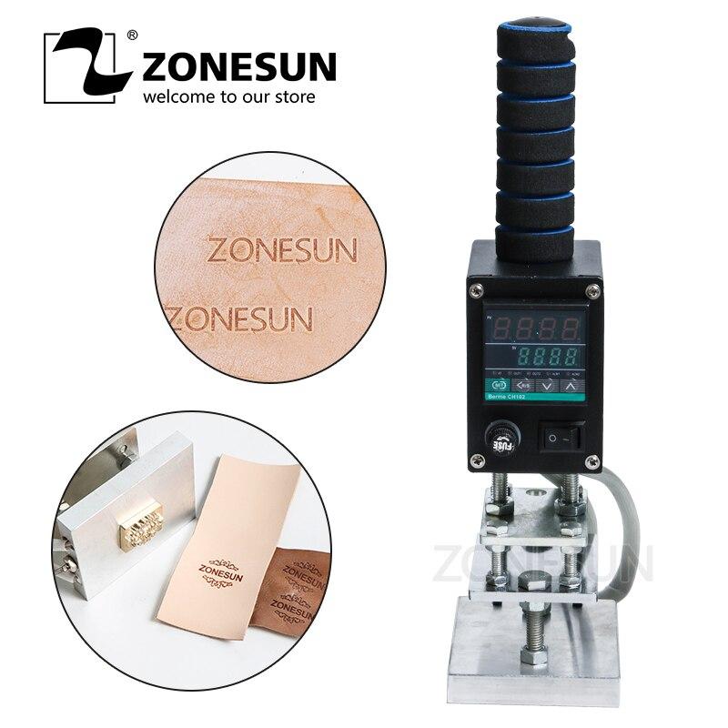 Máquina de estampación en caliente ZONESUN 5*7 cm, soldador eléctrico para grabado en madera y Cuero (0-400 grados)
