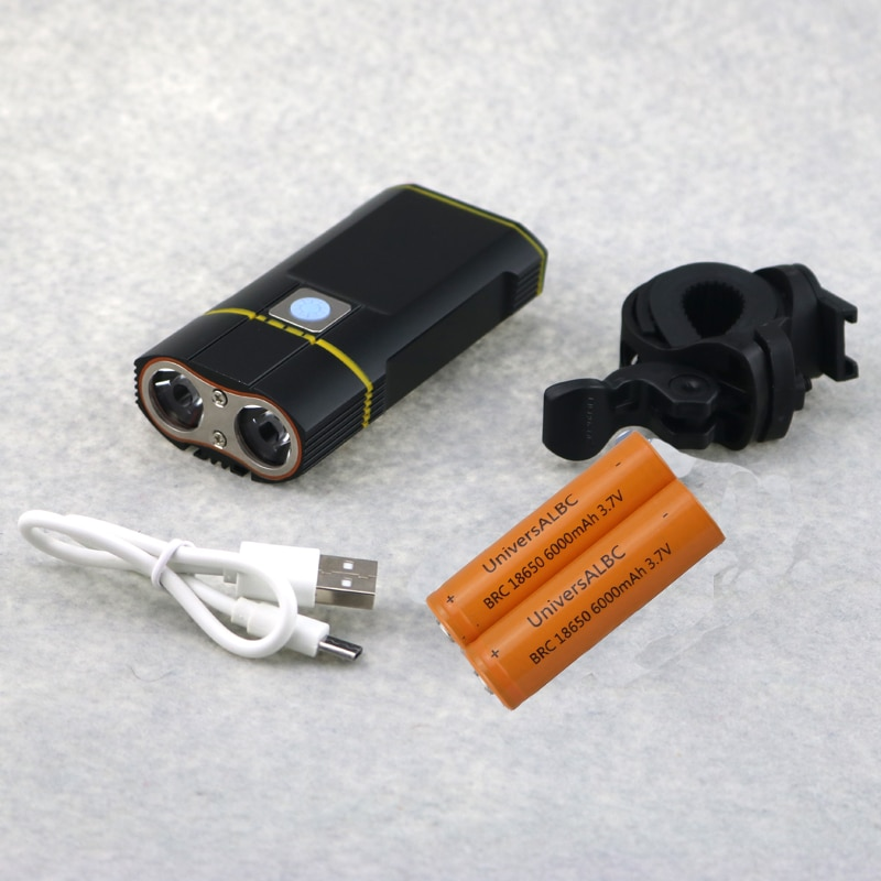 2000 Lumen USB 18650 batería recargable bicicleta luz 2x Cree XML T6 Led bicicleta lámpara linterna con soporte ajustable