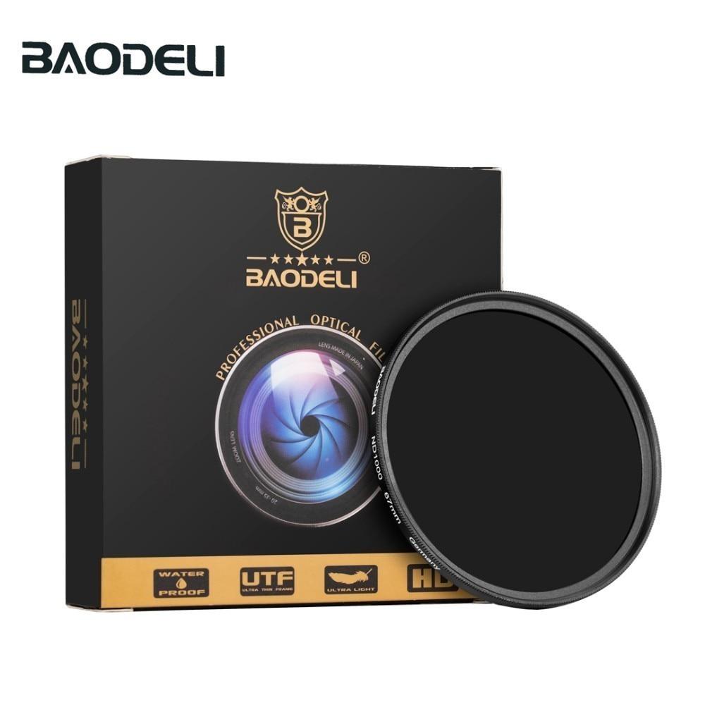 BAODELI Neutral Density Filtro Nd1000 64 8 Concept 49mm 52mm 55 58 62 67mm 72 77mm 82mm For Canon Nikon Sony Camera Lens Filter