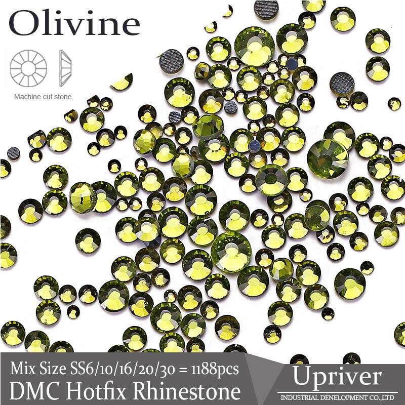 SS6-SS30 de hierro verde Premium brillante de SS20 Oliva bricolaje diamantes de imitación vestido brillante piedras de cristal de arandela de diamantes de imitación