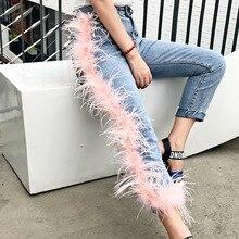 LANMREM 2020 nueva moda mujer alta cintura roto borlas piel Patchwork washed Jeans Mujer Pantalones WH61705L High Street