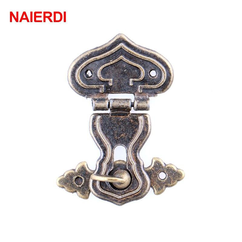 2 pçs naierdi spade design antigo bronze ferrolho trava jóias caixa de madeira gabinete fivela caso fechaduras lidar com ferragem