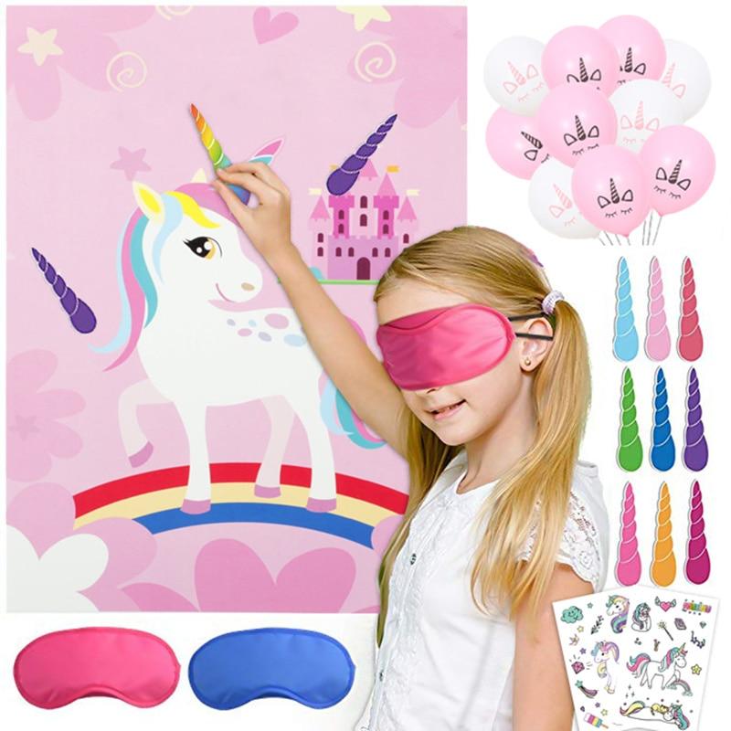 Decoración de fiesta de Unicornio para niños Juego de Pin de Unicornio 1 Uds cartel de Unicornio + 12 cuernos de Unicornio + 1 venda para los ojos