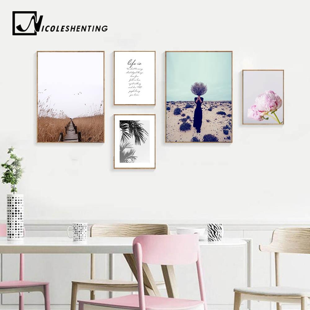 Nórdicos campo paisaje de flores pared arte lienzo impreso abstracto cartel pintura escandinavo cuadro decorativo Decoración Para sala de estar