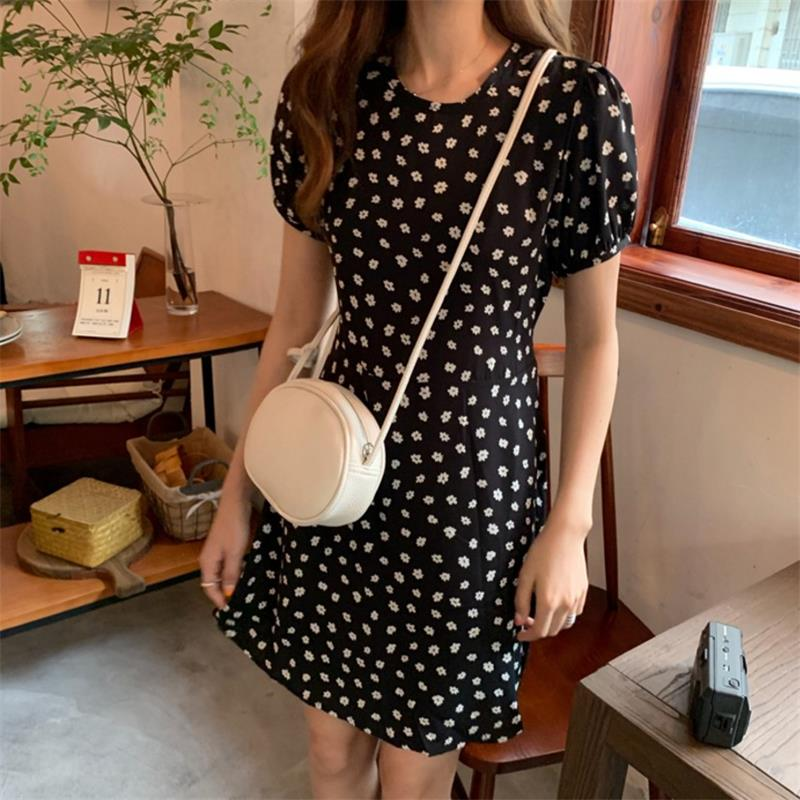 Женское винтажное платье в горошек, милое платье в стиле ретро с высокой талией в Корейском стиле