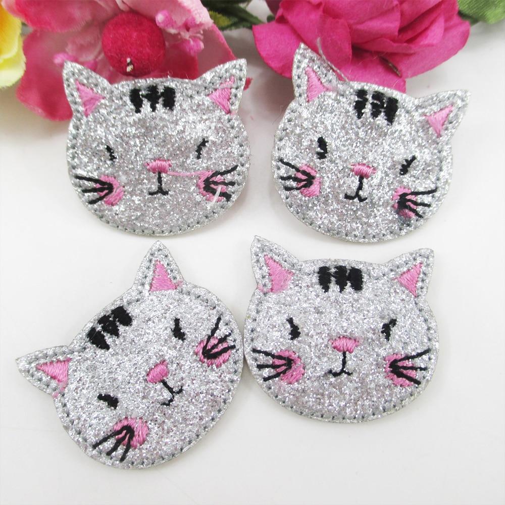 Parche bordado de gato con purpurina de 28x23MM, 20 piezas de gran calidad, materiales hechos a mano DIY, papel de regalo de boda, 20Y50578