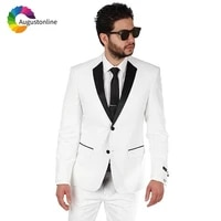 tuxedo white men suits for wedding evening party prom blazer slim fit formal tailor made best man 2 pieces costume homme mariage