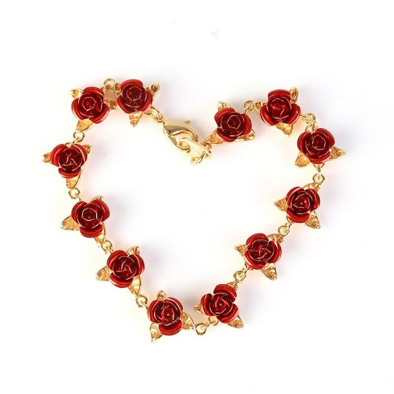 Pulseira de rosas vermelhas, pulseira de flores com corrente de charme presente do dia dos namorados para mulheres festa de casamento pulseira de dama de honra presentes de festa de casamento