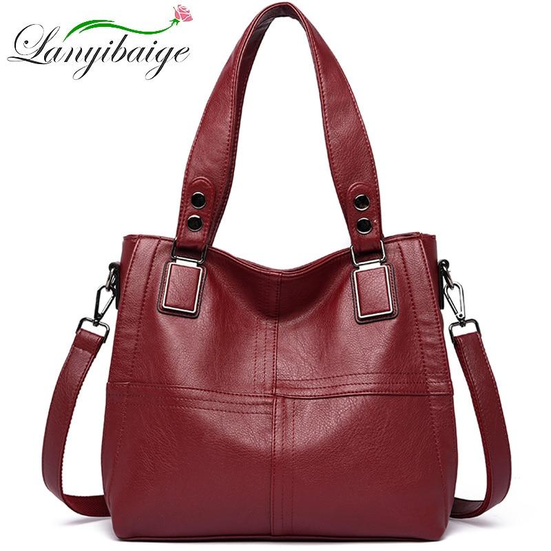 New Luxury Brand Women Leather Handbag Genuine Leather Casual Tote Bags High Quality Soft Sheepskin Female Big Shoulder Bags