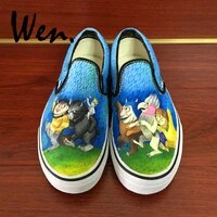 wen design custom where the wild things are slip on hand painted canvas sneakers unisex skateboarding shoes for birthday gifts