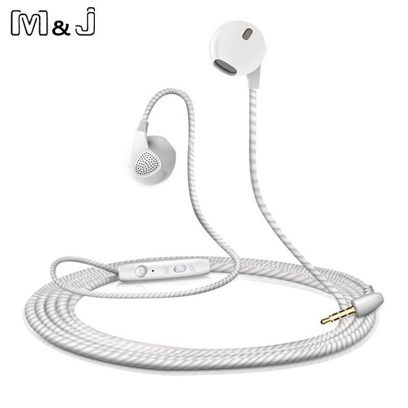 M & J auricular para iPhone 6 6S 5 teléfono auriculares con micrófono 3,5mm Jack Bass auriculares para Apple Iphone Samsung auriculares deportivos