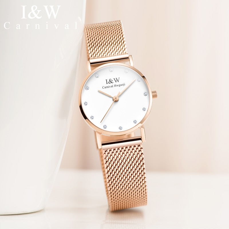 Carnival iw authentic ladies watch female quartz watch fashion trend waterproof student watch male couple table super thin clock enlarge