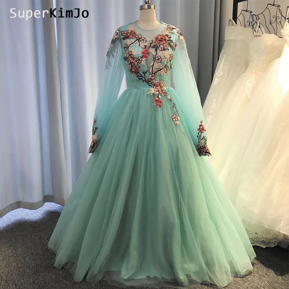 SuperKimJo Stickerei Applique Prom Kleider Langarm Türkis Blau Elegante Abendkleid 2019 Vestido De Gala