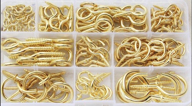مجموعة متنوعة من الخطافات لمصباح السقف الذهبي ، حامل خطاف معدني مفتوح النهاية ، مجموعة متنوعة مع صندوق 230