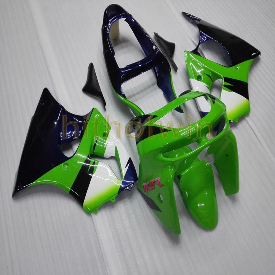 Tornillos gratis + cubierta de cuerpo verde azul oscuro para ZX6R 636 1998 1999 ZX-6R carenado de motocicleta ABS