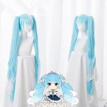 الثلوج Miku شعر مستعار تأثيري VOCALOID هاتسون ميكو 120 سنتيمتر طويلة أسلاك التوصيل المصنوعة ضوء الأزرق الاصطناعية الشعر ل الكبار