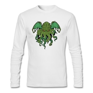 Male Long Party T-shirt Low-cost Full Sleeve T Shirt Site Cthulhu Lives T with Cthulhu Mythos Man 100% Cotton O Neck Regular