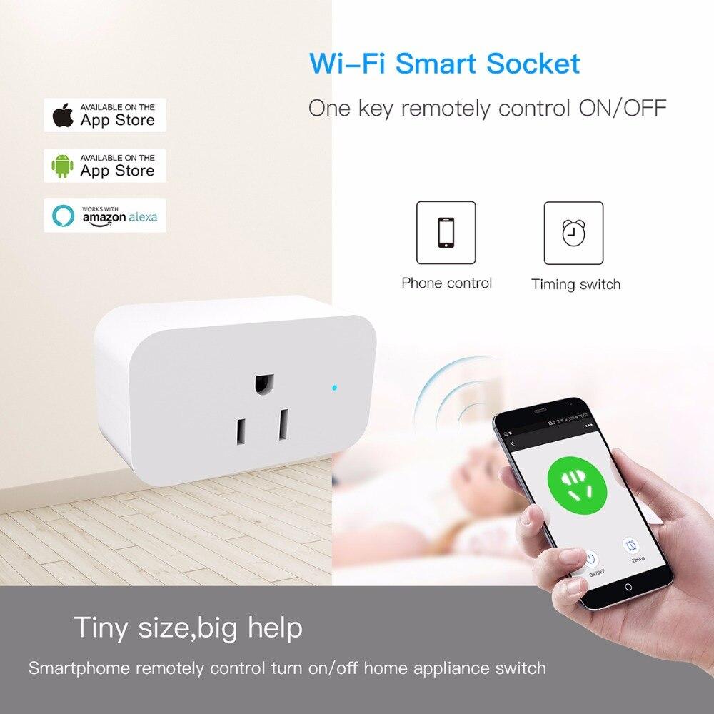 مقبس ذكي صغير للمنزل الذكي ، 16 أمبير ، مؤقت ، واي فاي ، تطبيق ، جهاز تحكم عن بعد ، متوافق مع Alexa Home Echo