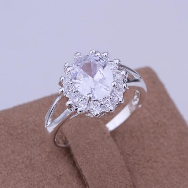 Atacado-Prata banhado Anéis Para As Mulheres, Moda Jóias Anillos, inserções de Women & Men Presente Girassol Zircônia Prata Anéis de Dedo