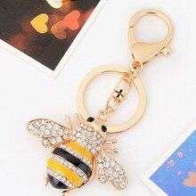 에나멜 귀여운 꿀벌 크리스탈 열쇠 고리 꿀벌 꿀 열쇠 고리 여성 열쇠 고리 매력 악세사리 열쇠 고리 펜던트 쥬얼리 CH3502