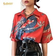 2018 été haut pour femme Harajuku Blouse femmes Dragon imprimer à manches courtes Blouses chemises femme Streetwear kz022