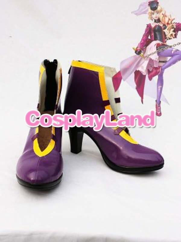 Personalizar botas Macorss disfraces fronterizos Sheryl Nome púrpura Fetish abdl, zapatos Cosplay Anime zapatos de fiesta