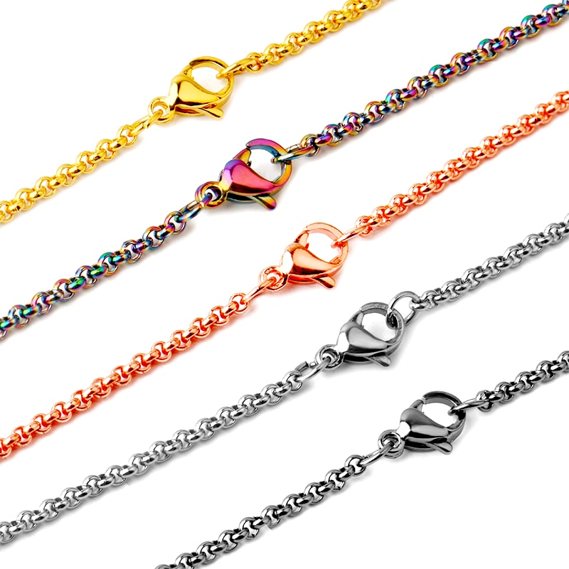 2pcs 2019 Stainless Steel Chain 45cm Handmade Lobster Buckle Necklace Fashion Men Women DIY Jewelry Making Accessories Wholesale