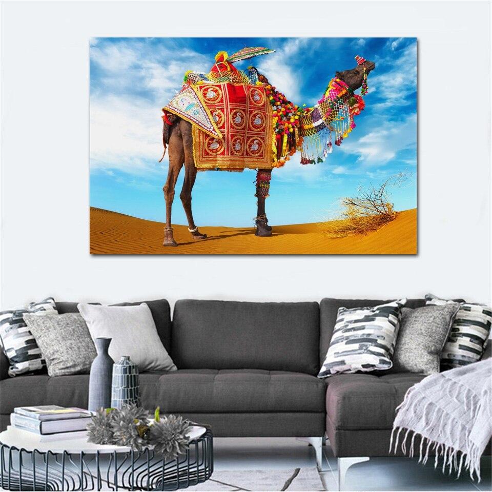 camel in desert cute beautiful animal adress photo KC609 living room home wall modern art decor wood frame fabric posters prints