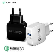 QC3.0 chargeur Charge rapide 3.0 EU/US mur 18W Charge rapide USB surcharge pour iPhone Xs Samsung S10 Xiaomi Huawei LG câble Usb