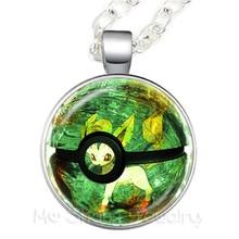 Pikachu Pokemon Pokeball Pendant Necklace 25mm Round Glass Dome Charm Pendant Sweater chain For Women Girls Gift