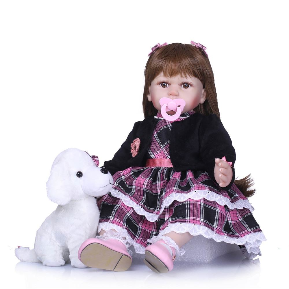 bebe reborn doll 58cm silicone reborn baby dolls com corpo de silicone menina baby dolls brown eyes for girls Christmas gift toy