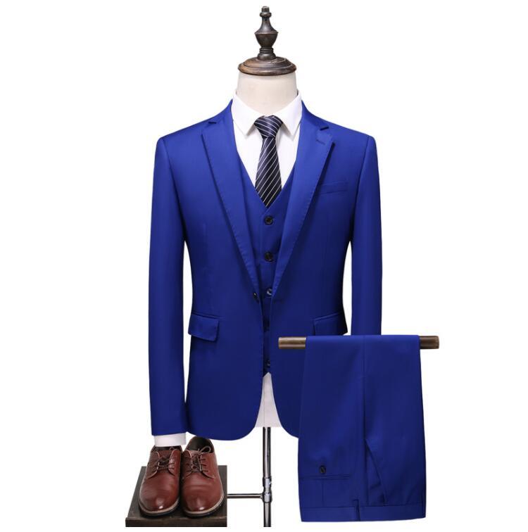 Trajes de boda Casual Hombre Blazer traje de negocios para hombre trajes con pantalones (chaqueta + chaleco + Pantalones) traje Homme Mariage Trajes