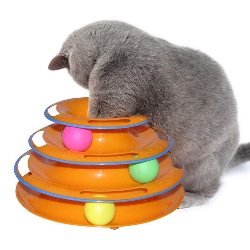 Divertido juguetes para mascotas juguetes para gato disco con pelota loca juguete interactivo y divertido jugar disco Trilaminar tocadiscos gato de juguete
