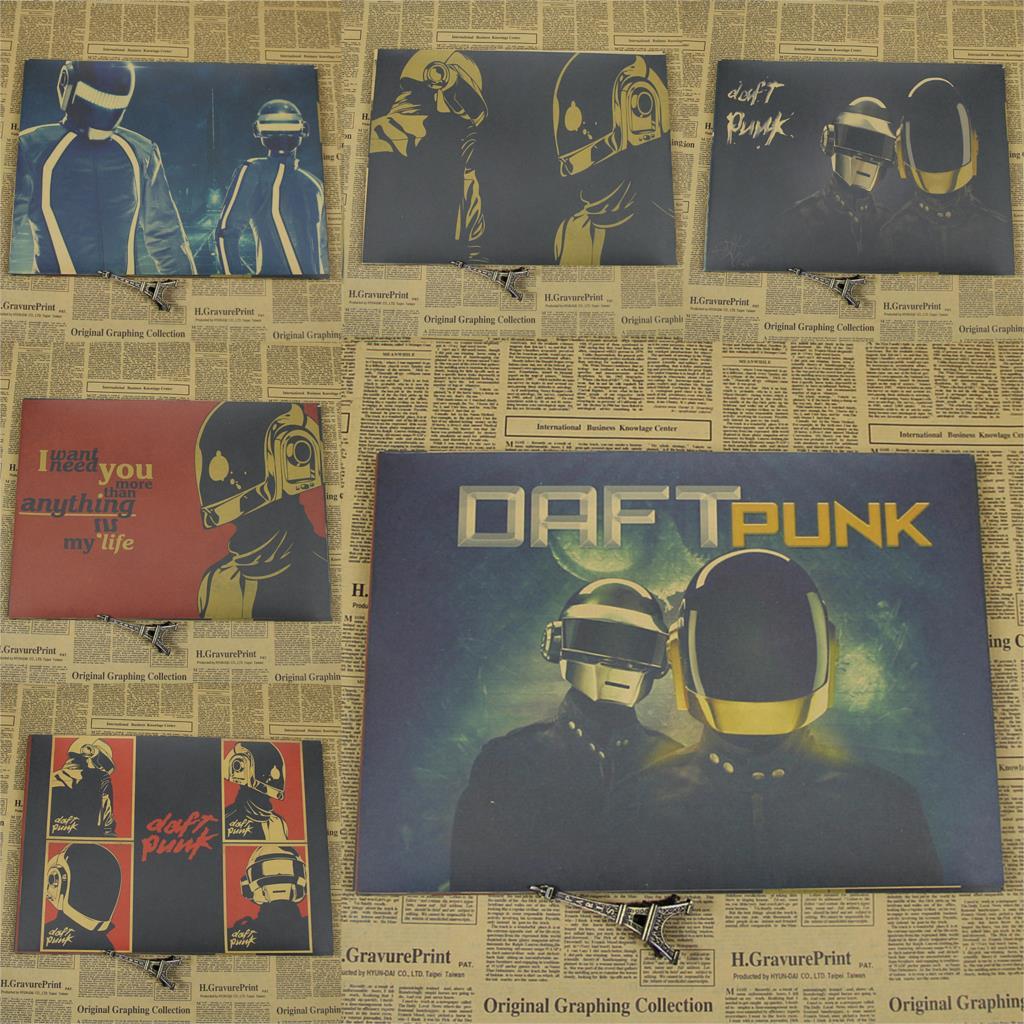 Daft.punk electrónico Daft Punk retro piano rock, póster de pared, papel Jiezhuang pintura core