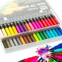 Rotulador de pincel, juego de 12- 36 unidades, marcador Flexible, tinta a base de agua de Color