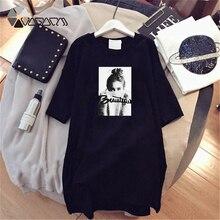 Verão tshirt vestido feminino manga curta branco preto vestido casual solto roupas vestidos de festa plus size 4xl meninas 2019
