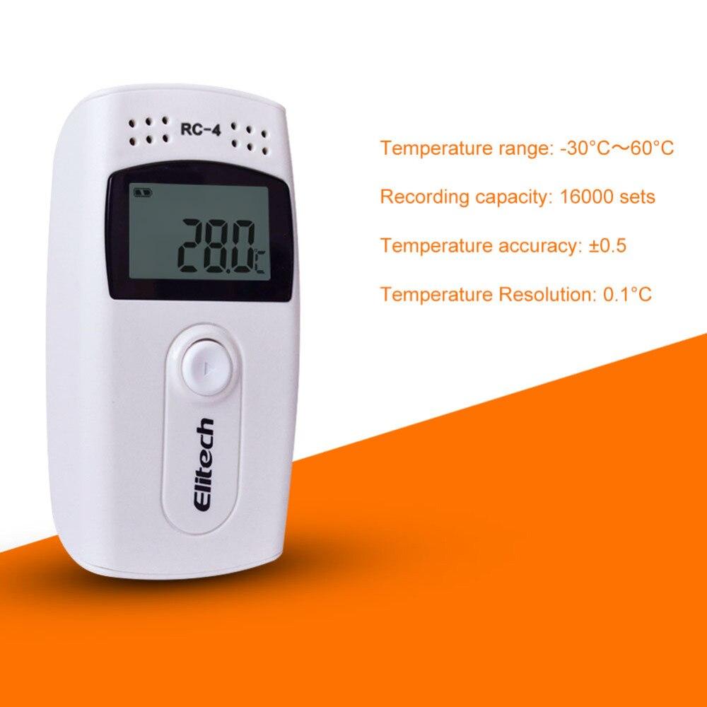 Registrador de datos de temperatura USB Digital LCD de RC-4, Registrador de temperatura de alta precisión con Sensor NTC incorporado