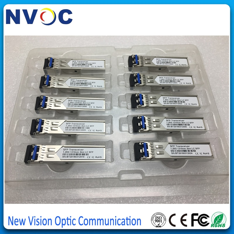 10Pcs/Lot,GLC-GE-FX, 1.25G 1310nm MMF GE SFP Transceiver 2KM,DDM,1.25G Fiber Optical LC DX Fiber SFP Transceiver Module