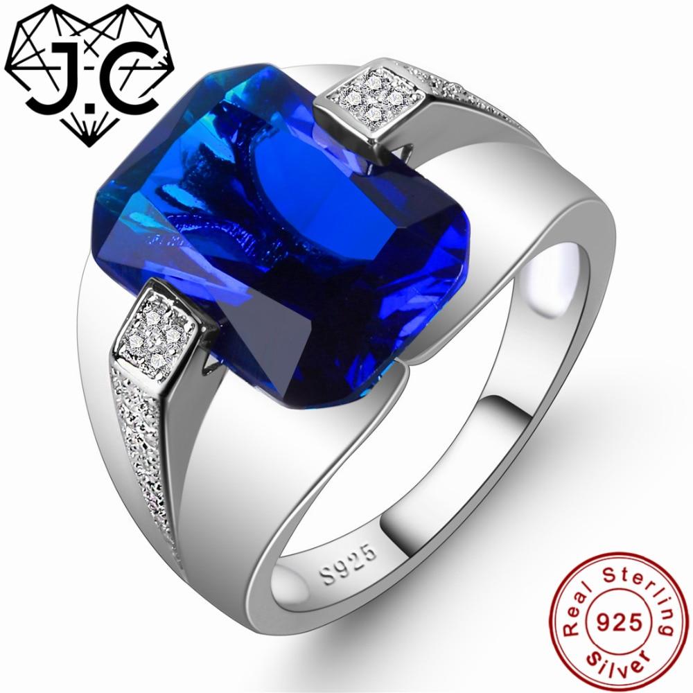 J. C para mujeres/hombres joyería fina de estilo clásico zafiro brillante Topacio azul y blanco 925 anillo de plata de ley tamaño 6 7 8 9