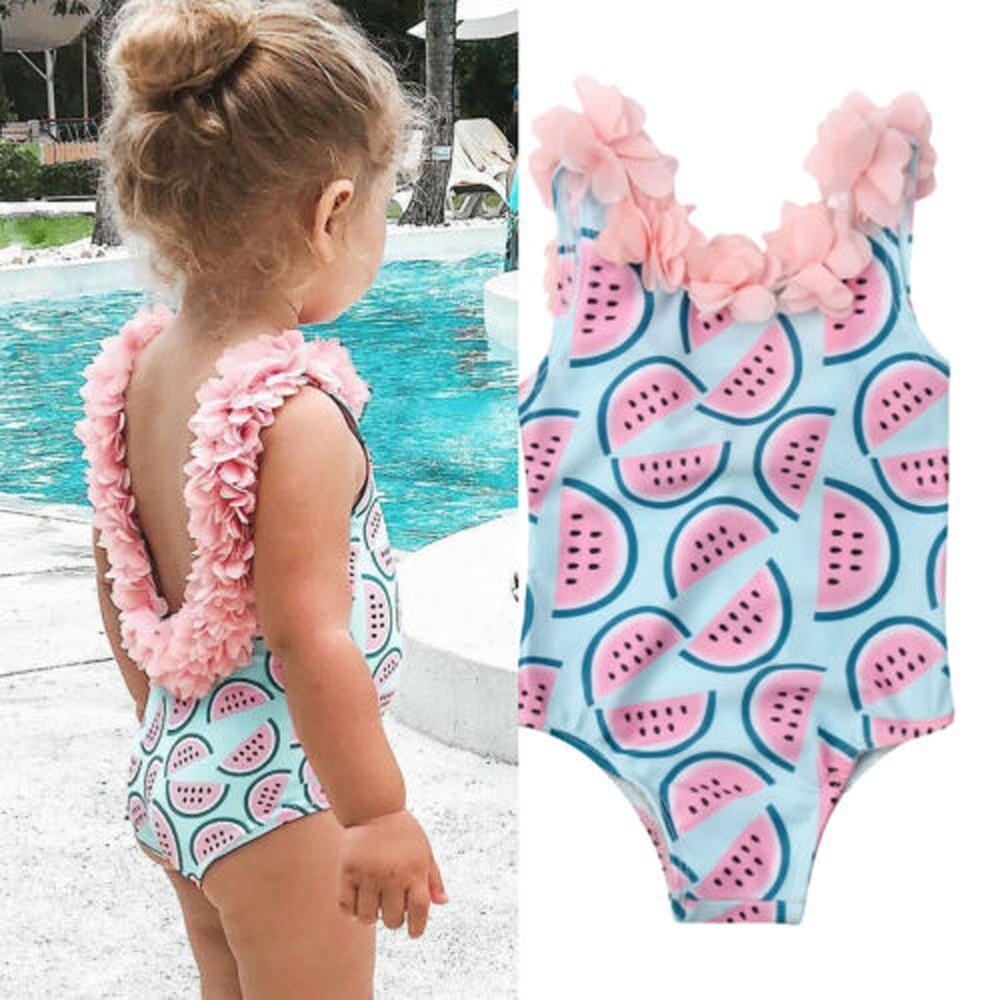 Sleeveless Watermelon Printed Flower Decor One Piece Bikini Swimsuit Swimwear For Toddler Girl