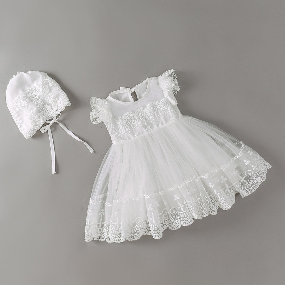 Novo bebê vestido com touca branca bordado renda, bebê menina vestidos de batizado 1 ano de aniversário vestido de bebê meninas roupas para meninas 3-24m