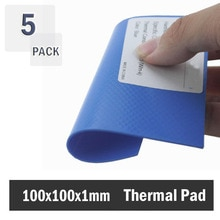 5 pcs 100x100x1mm 1mm 두께 gpu cpu 열 패드 smd dip ic 칩 방열판 실리콘 열 패드