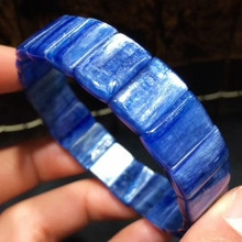 Véritable naturel bleu Kyanite pierre précieuse Crstal Rectangle perles extensible bracelet Bracelets effet œil de chat pierre précieuse femme homme AAAAAA
